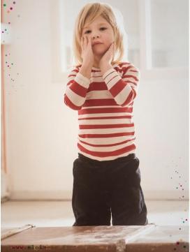 "T-shirt ""Stripe"" rayé rouge manches longues"