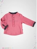 T-shirt enfant col Tunisien rose