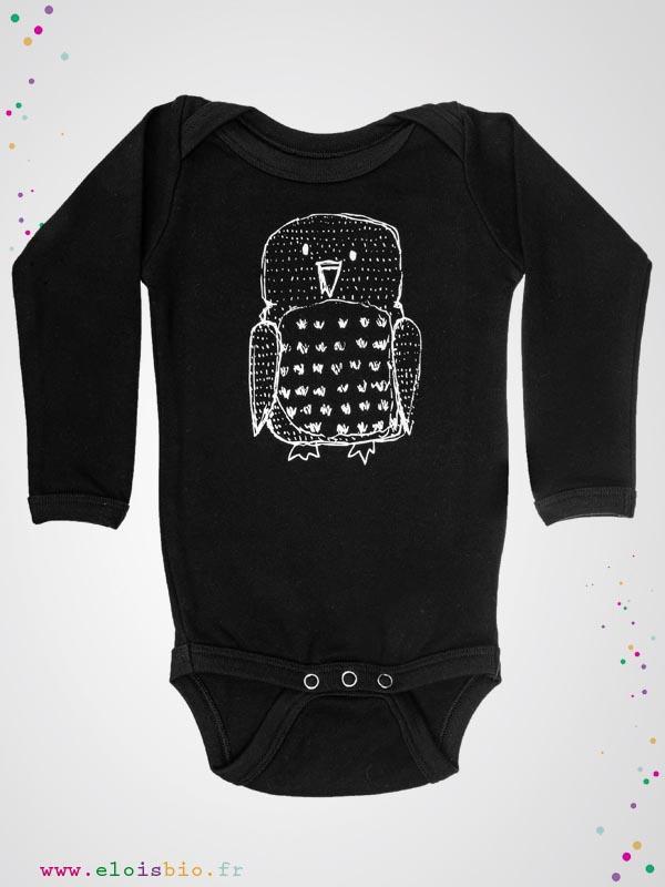 Aarrekid - Body enfant noir Hibou - ELO is BIO 8b76b65d435