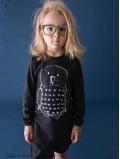 T-shirt noir Hibou manches longues