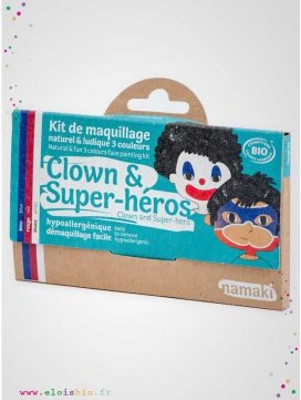 Kit de maquillage 3 couleurs bio Clown & Super Héros