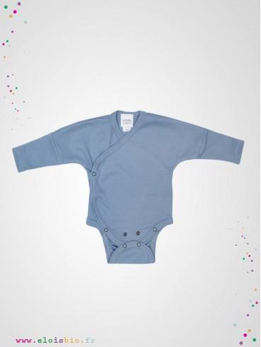 Body kimono naissance manches longues bleu