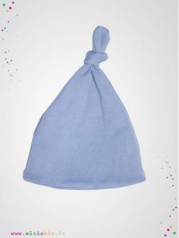 Bonnet noeud bébé bleu
