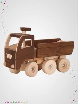 Camion-benne en bois naturel