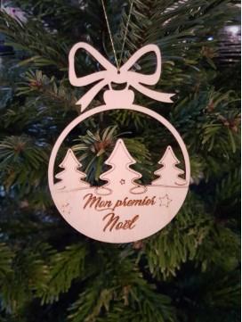 Boules de Noël en bois Mon premier Noël