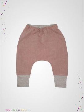 Sarouel coton et lin Rouge