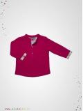 T-shirt col tunisien framboise