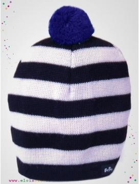 Bonnet en laine rayé à pompon bleu