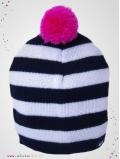 eloisbio-bonnet en laine black&white pompon cerise bellio