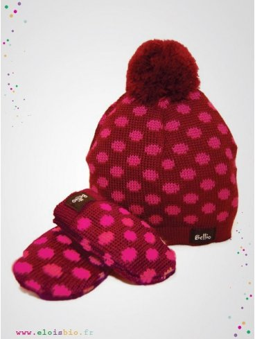 eloisbio-ensemble bonnet- moufle en laine bordeaux bellio