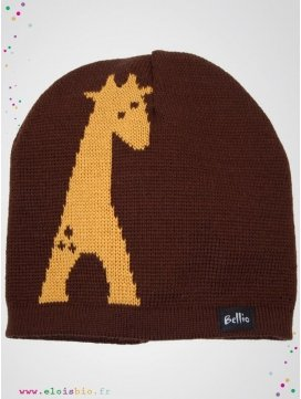 eloisbio-bonnet en laine giralf marron-jaune bellio