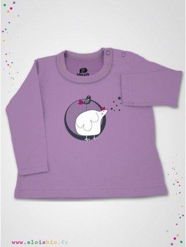 eloisbio-ts500 tee shirt rose lilas mini poule