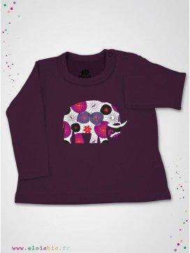 eloisbio-ts600 tee shirt prune fleurs japonaises