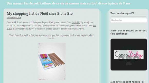 LA SHOPPING LIST DE NOËL DE MOTS D'MAMAN CHEZ ELO IS BIO