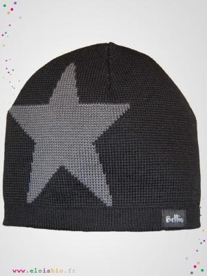eloisbio-bonnet en laine etoile noir-gris bellio
