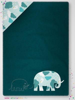 eloisbio-cp040 couverture bleu de mer tissu nuages