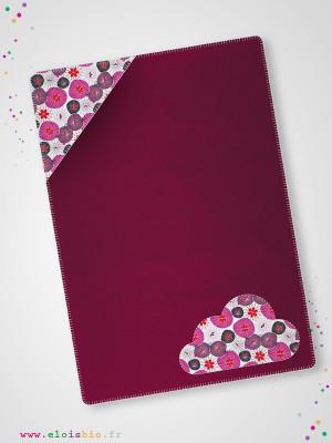 eloisbio-cp070 couverture polaire framboise  fleurs japonaises